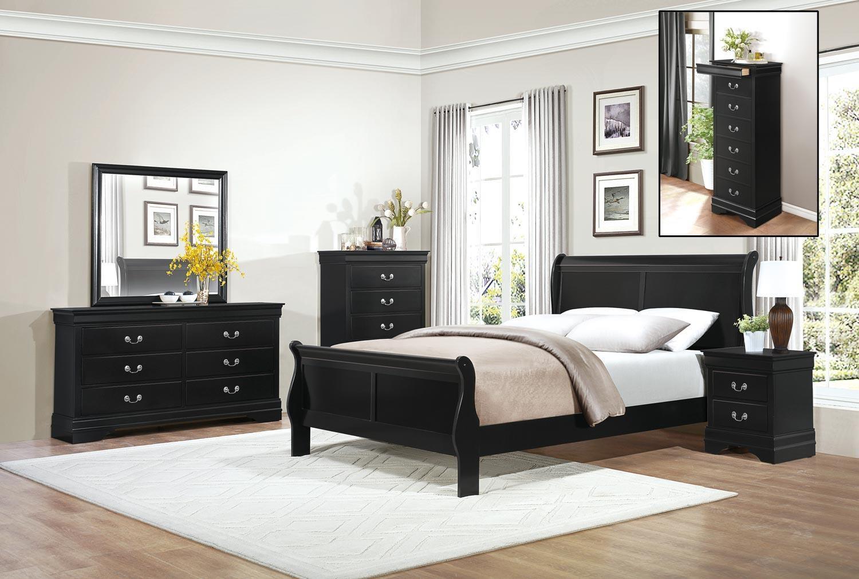 Homelegance MayvilleFull Black Bedroom Group