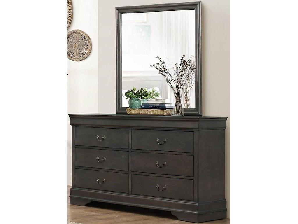 Homelegance MayvilleGray Dresser & Mirror