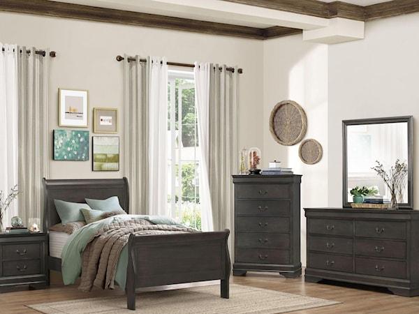 Full Gray Bedroom Group