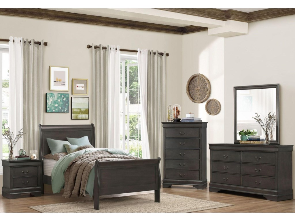 Homelegance Mayville GRP-2147-GRAY-FULLSET Full Gray Bed, Dresser ...