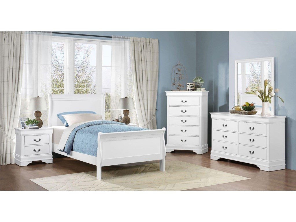 Homelegance MayvilleFull White Bedroom Group