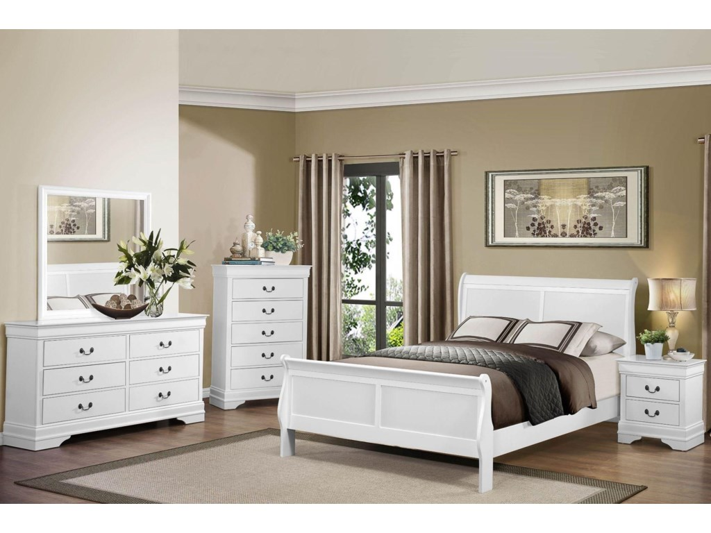 Homelegance MayvilleQueen White Bedroom Group