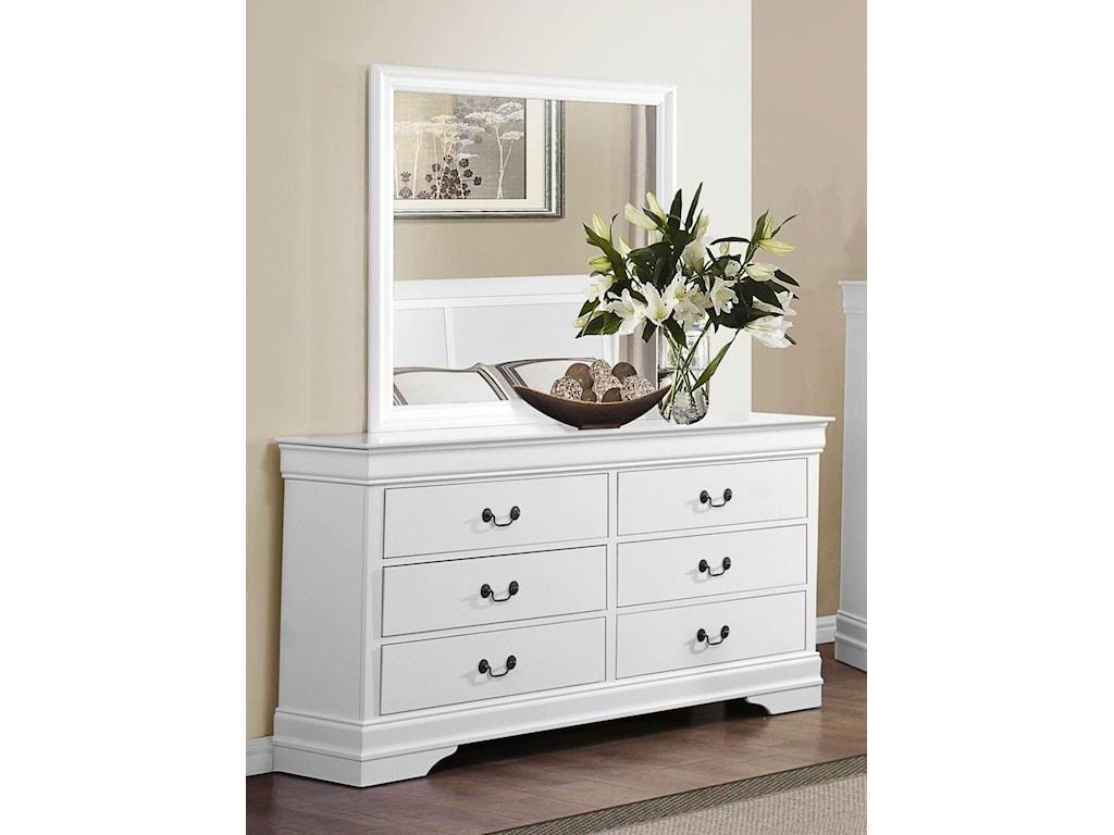 Homelegance MayvilleWhite Dresser & Mirror