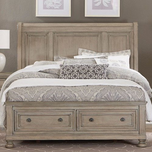 Homelegance (Clackamas Only) 2259GY Relaxed Vintage Queen Storage Bed with Two Drawers