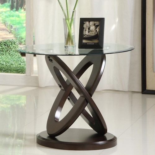 Homelegance 3401W Round End Table with Glass Top