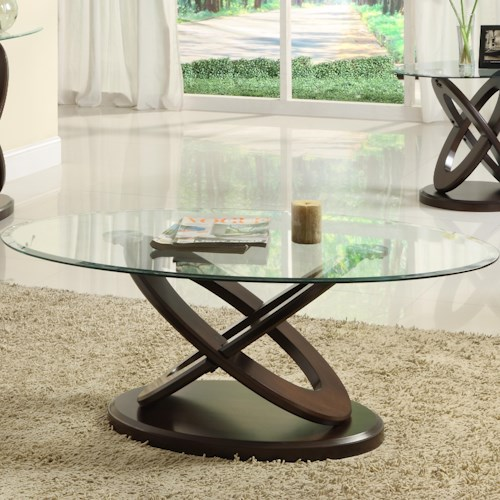 Homelegance 3401W Oval Cocktail Table with Glass Top