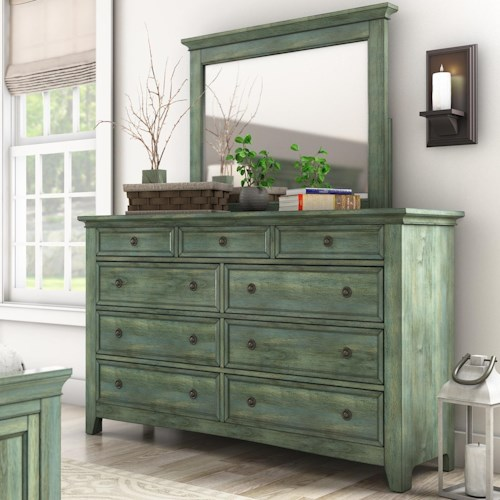 Homelegance 395 Casual Nine Drawer Dresser and Mirror Set
