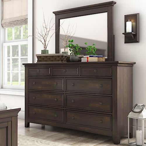 Homelegance 395 Casual Nine Drawer Dresser and Mirror Set