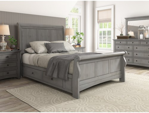 Homelegance 395 Casual Queen Sleigh Bed with Storage