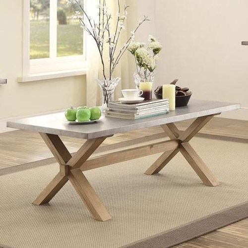 Homelegance 5100 Cocktail Table with Trestle Base