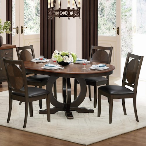 Homelegance 5111 5 Piece Dining Set with Round Table