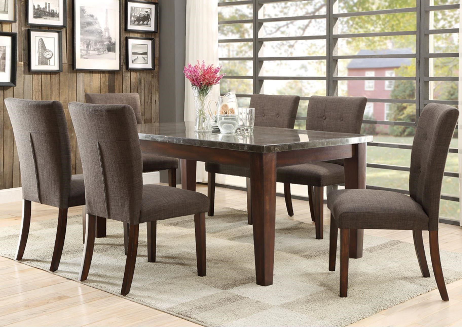 Homelegance Dorritt 7 Piece Dining Set With Bluestone Table Top