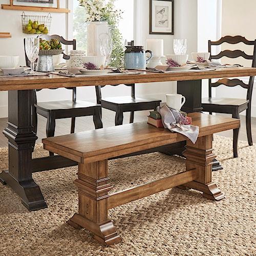 Homelegance 530 Dining Bench with Trestle Base