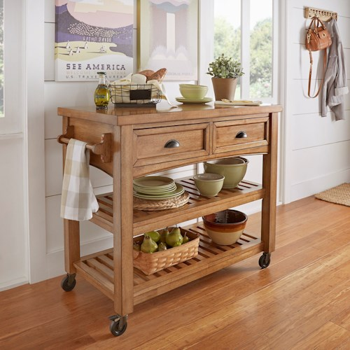 Homelegance 531 Counter Height Kitchen Cart with Storage Drawers and Open Shelving