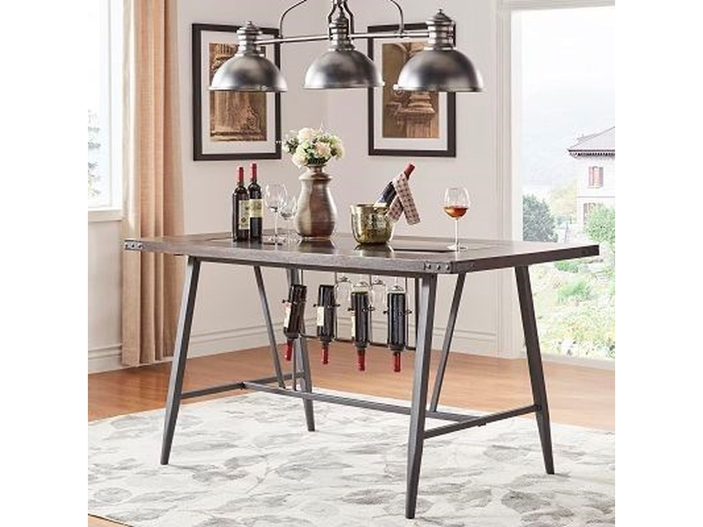 Homelegance 5566 Counter Height Table With Wine Storage And Glass