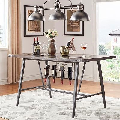 Homelegance 5566 Counter Height Table with Wine Storage and Glass Insert