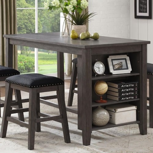 Homelegance 5603 Transitional Counter Height Table with 3 Shelves