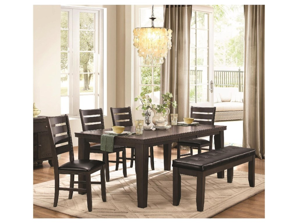 Homelegance AmeilliaTable & 4 Chairs with Bench