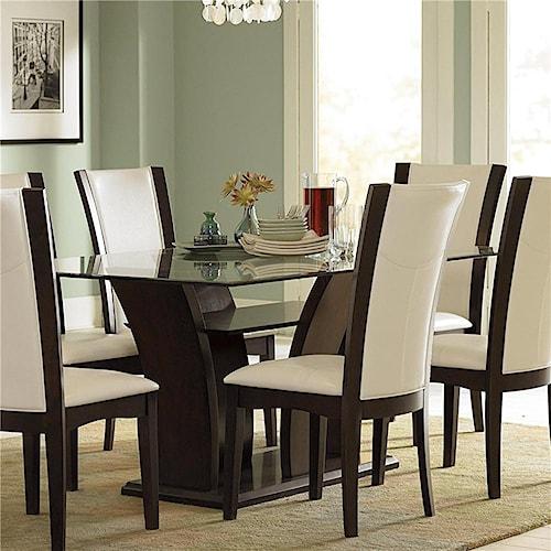 Homelegance 710 Trestle Glass Dining Table