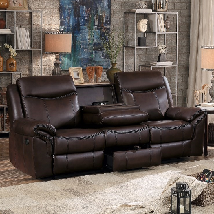 Homelegance 8206 Casual Reclining Sofa With Drop Down Cupholders And  Concealed Drawer