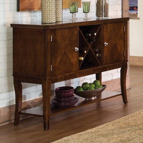 Homelegance Alita Transitional Dining Server with Wine Bottle Storage