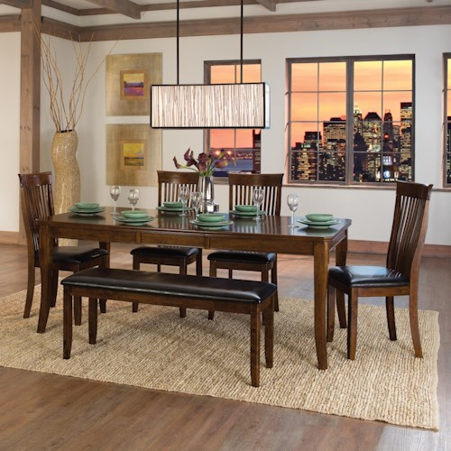 Homelegance Alita Transitional Table and Chair Set with Bench