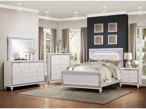 Homelegance Alonza Glam Cal King LED Lit Bedroom Group