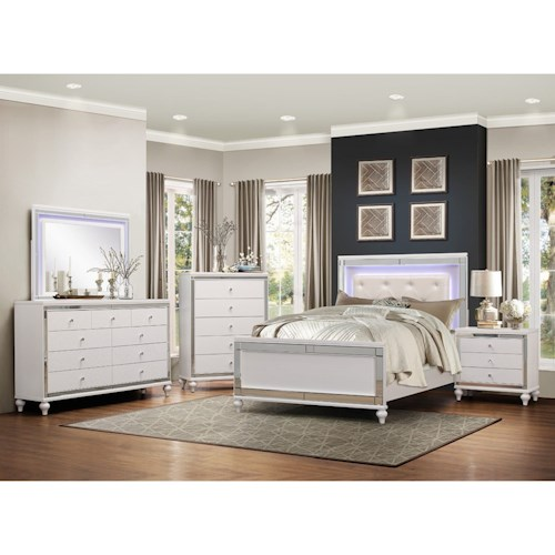 Homelegance Alonza Glam Queen LED Lit Bedroom Group