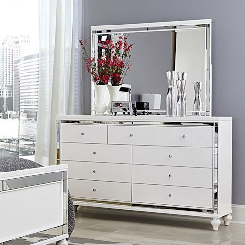 Homelegance Alonza Glam Dresser and Mirror with Embossed Alligator Texture and Mirrored Panels