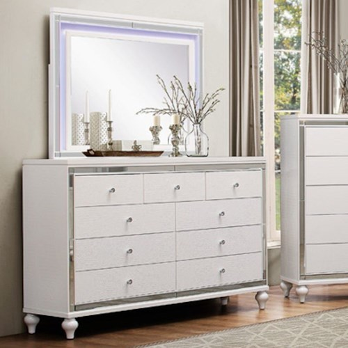 Homelegance Alonza Glam Dresser and LED Lit Mirror Combo with Mirrored Inlays and Embossed Alligator Texture