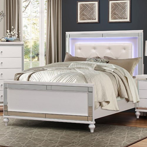 Homelegance Alonza Glam Queen Bed with LED Lit Headboard and Button Tufting