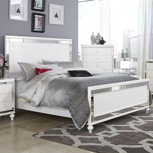 Homelegance Alonza Glam King Bed with Mirror Inlays and Embossed Alligator Texture