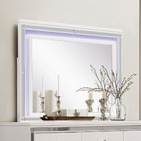 Homelegance Alonza Glam LED Lit Mirror with Mirrored Inlay Frame