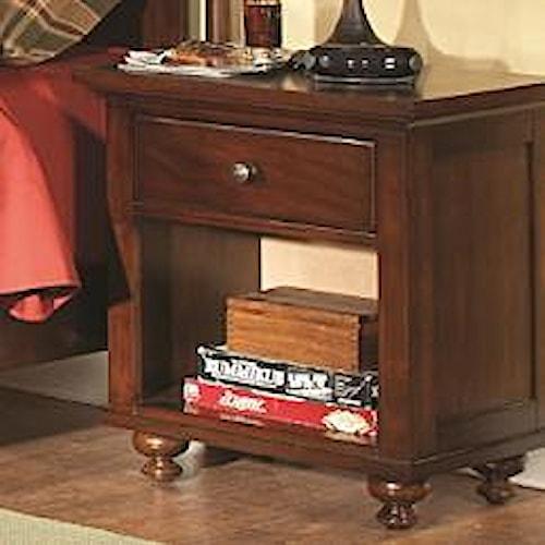 Homelegance Aris Casual 1 Drawer Nightstand with Bun Feet