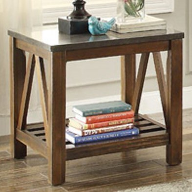 Homelegance Ashby Mission End Table with Bluestone Marble Top
