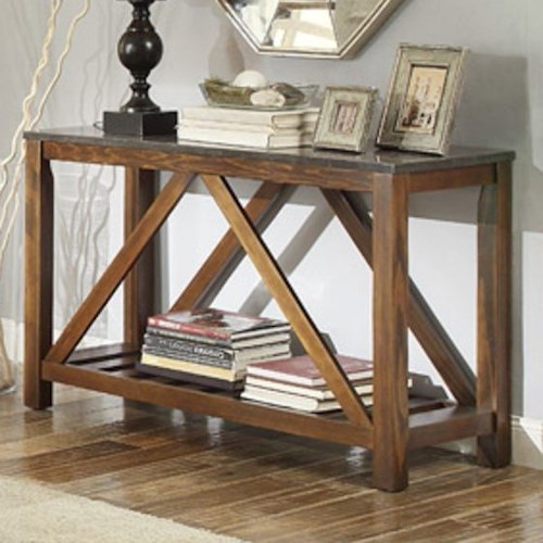 Homelegance Ashby Mission Sofa Table with Bluestone Marble Top