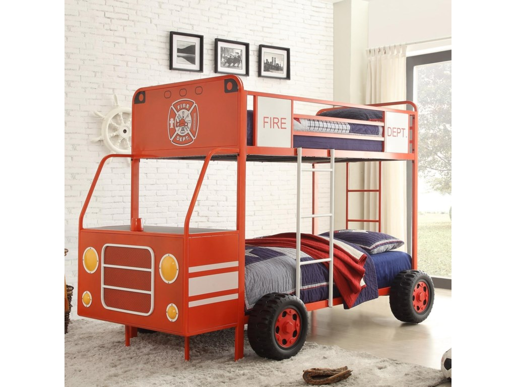 Homelegance B2023 Twin Over Twin Fire Engine Bunk Bed Beck S