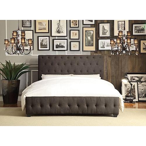 Homelegance Baldwyn Contemporary King Upholstered Platform Bed with Tufting
