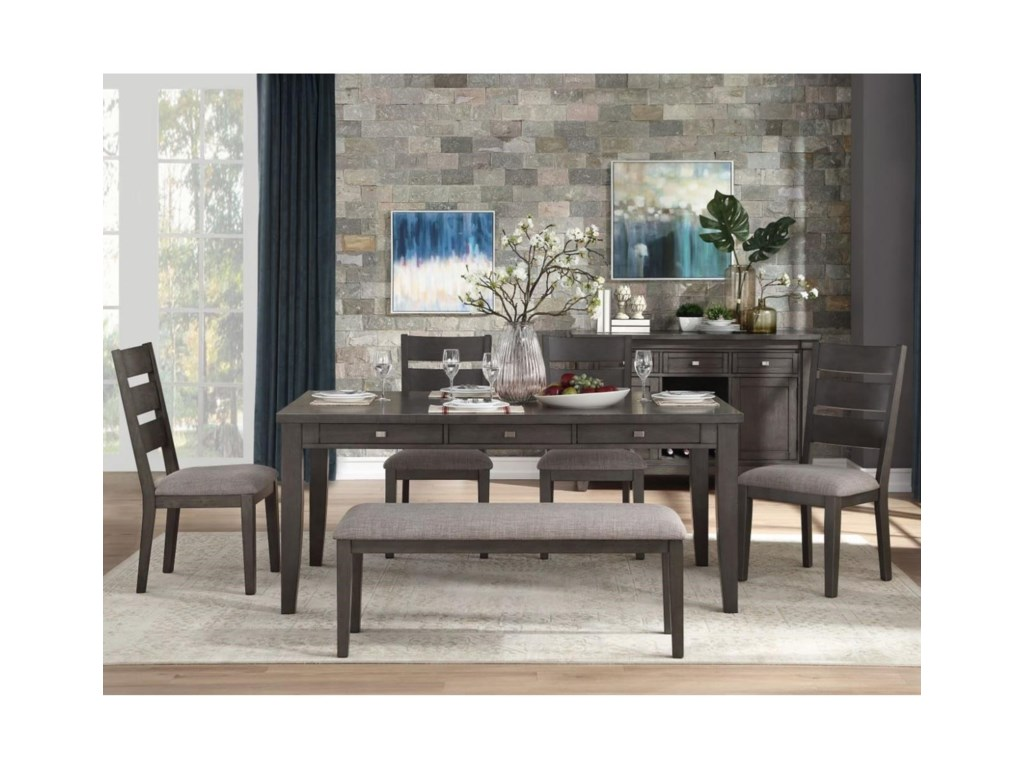 Homelegance Baresford6-Piece Table and Chair Set with Bench
