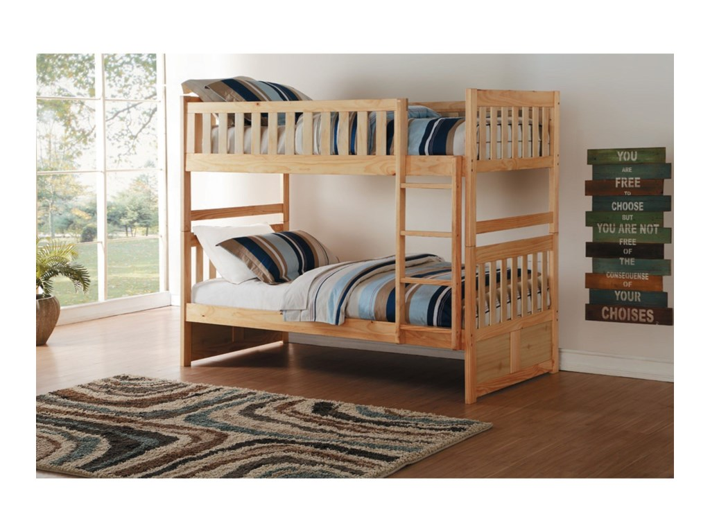 Home Style NaturalTwin Over Twin Bunk Bed