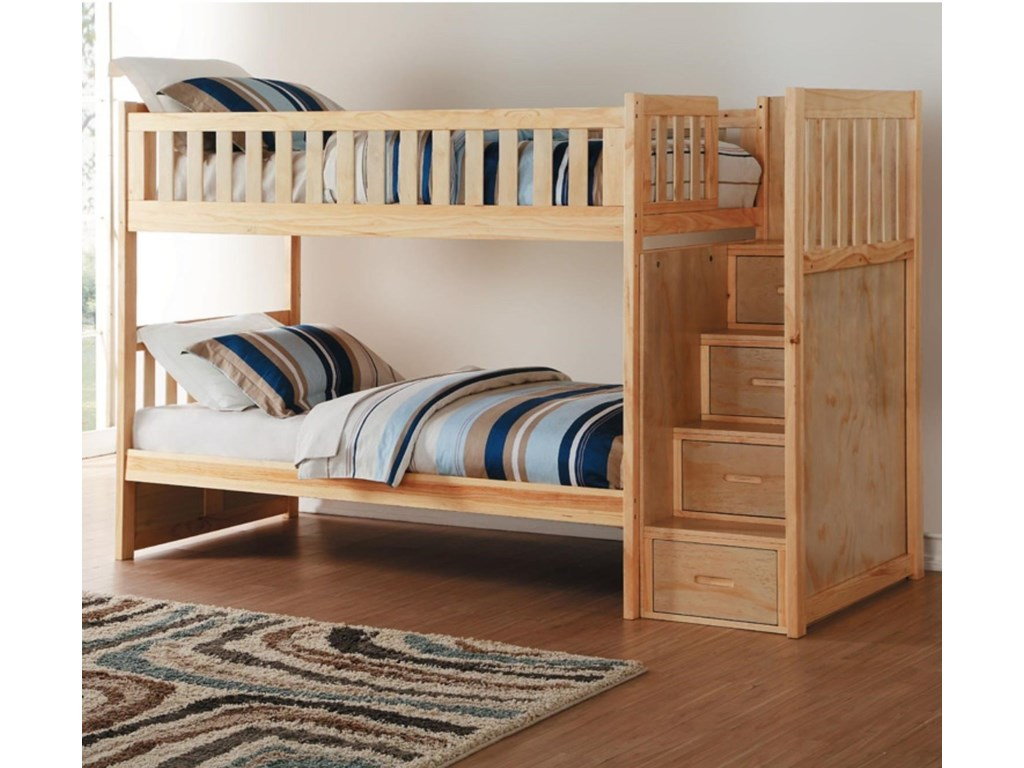 Home Style NaturalTwin Over Twin Bunk Bed w/ Stair Storage