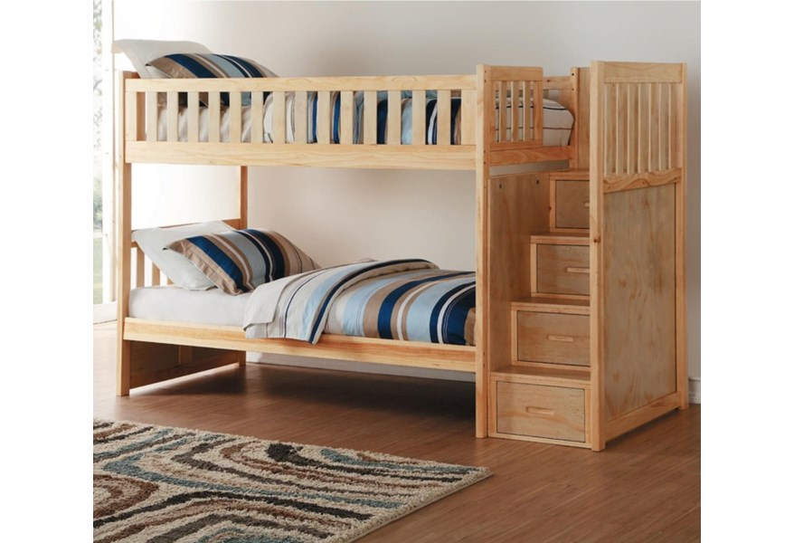 Homelegance Bartly Twin Over Twin Bunk Bed With Stair Storage Lindy S Furniture Company Bunk Beds