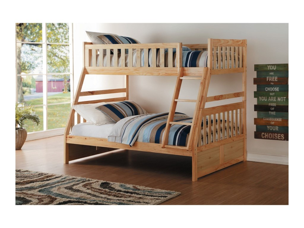 Home Style NaturalTwin Over Full Bunk Bed