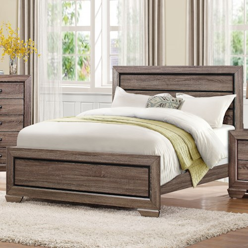 Homelegance Beechnut Contemporary Queen Headboard and Footboard with Dark Under-Paneling