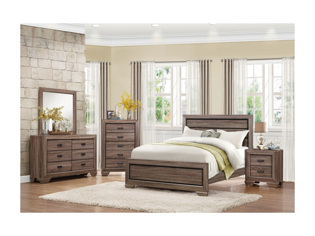 Homelegance BeechnutModern Queen Headboard and Footboard