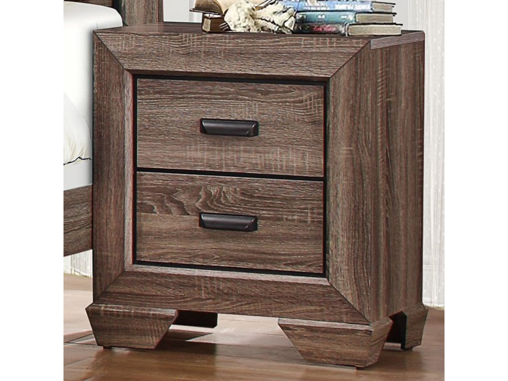 Homelegance BeechnutModern 2-Drawer Nightstand