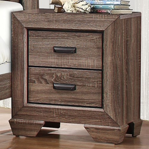Homelegance Beechnut Contemporary 2-Drawer Nightstand with Dovetail Joinery