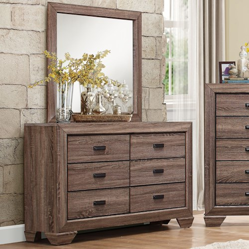 Homelegance Beechnut Contemporary 6-Drawer Dresser and Mirror with Dovetail Joinery
