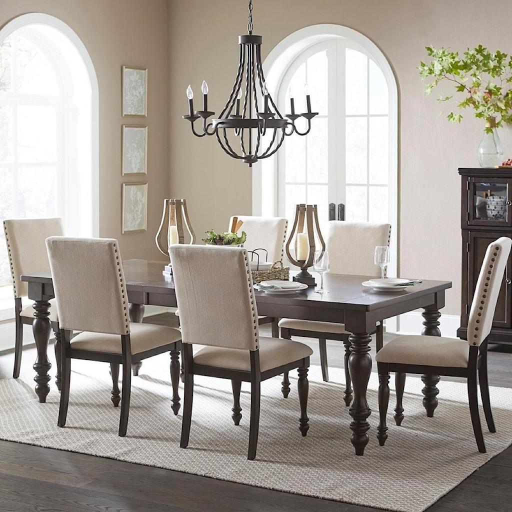 Homelegance Begonia Transitional Seven Piece Dining Table Set