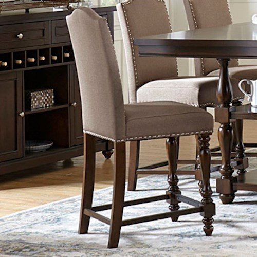 Homelegance Benwick Traditional Counter Height Upholstered Chair with Nailhead Trim
